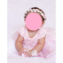 Vestido Para Bautizo Bebes 6mcorona Zapatos Pulcera Conjunt