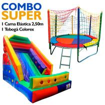 Combo Cama Elástica 2,50m + Tobogã Inflável Colorex