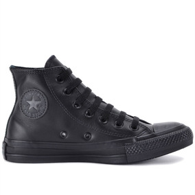 Tenis Converse All Star Monochrome Leather Hi Preto Couro