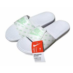 Nike Benassi Jdi Print Mujer - Blanco Menta Fresca