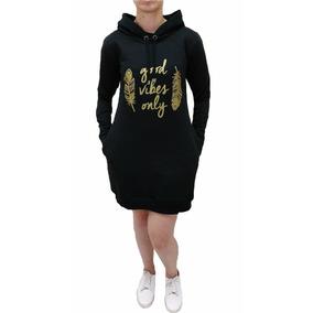 Vestido De Moletom Feminino Capuz E Bolso