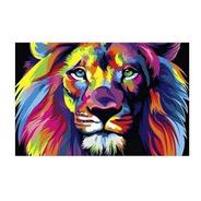 Quadro Decorativo Leão Colorido De Judá Placa A4 Sala Quarto