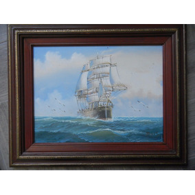 Pintura Al Oleo Enmarcada De Barco De Vela Hermoso
