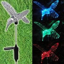 Espeto Jardim Luminária Luz Solar Beija Flor ( Par )