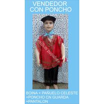 Disfraz Patrio Vendedor Con Poncho Boina Acto Talle 4/6/8/10