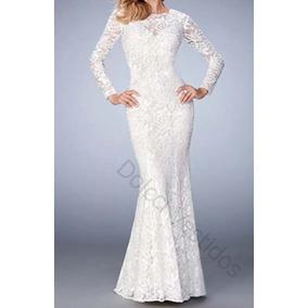 Vestido De Noiva Sereia Em Renda,casamento Civil D036q