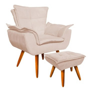 Poltrona Chaise Lounge Decorativa E Puff