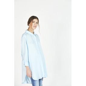 Camisa Maria Cher Napoles Celeste/crudo Original