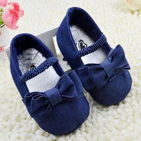 Zapato Niña Mezclilla Azul Elegante Fiesta Bebe Calzado