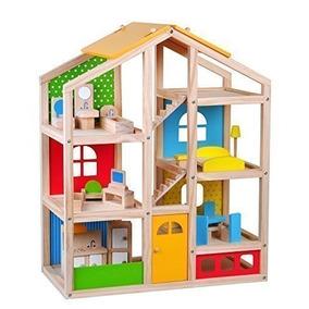 Skylar Casa De Muñecas Con 20 Piezas De Muebles, 4 Muñecas Y