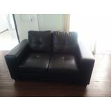 Sofa Sillón 2 Cuerpos En Pu Negro Divino