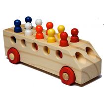 Ônibus De Madeira - Carrinho Madeira/brinquedo Bebê