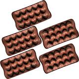 Kit 5 Forma Silicone Para Bombons Chocolate Formato Coração