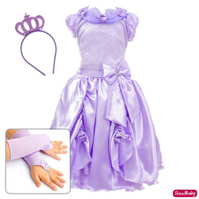 Vestido Bela E A Fera Festa Infantil Luva Coroa Frete Gratis
