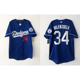Camisola Jersey La Dodgers Fernando Valenzuela Azul Nacional