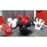 Kit 3 Luvas Mãos + 3 Cabeças M Mickey Minnie Festa Decoração