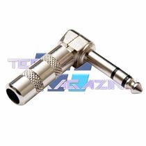 Plug P10 Conector 90 Graus Estereo Trs Profissional 3 Vias L