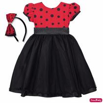 Vestido Ladybug Joaninha Festa Infantil Luxo 4 Ao 8 E Tiara