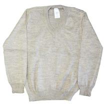 Suéter - Pulover Infantil Menino De Fio Bege Ocre Gola V