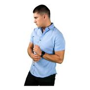 Camisa Manga Corta Casual Slim Fit Hombre