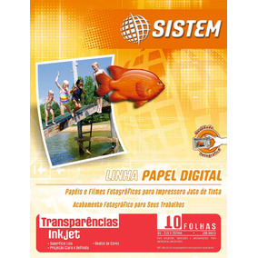 Transparência Adesiva Inkjet - 10 Folhas - A4 - 80 Micra