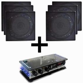 Kit Amplificador Bluetooth + 6 Caixas Som Ambiente P/ Gesso