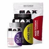 Combo Whey Pro + Massa 3kg + Bcaa Max Titanium