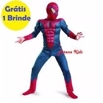 Fantasia Infantil Luxo Importada Homem Aranha Músculos