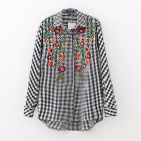 Camisa A Cuadros Bordada Flores Mujer