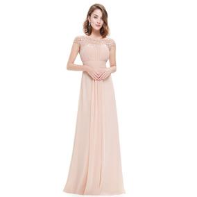 Elegante Vestido Gasa Manguitas Bodas Importado Moda Pasion