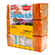 Galletitas Agua Granix Sandwich Crackers Granagua 3en1 600g