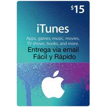 Itunes Gift Card Usa $15 Usd - Entrega Inmediata Por Email