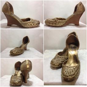 Zapatos Altos De Dama Color Dorado. Talla 40. Sintéticos