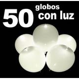 50 Globos Con Luz Led Blancos Fiestas Boda 60188 / Fernapet