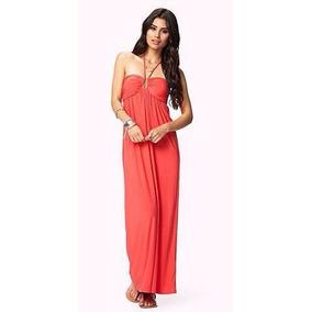 Vestido Largo Strapless Color Coral Forever 21 100% Original