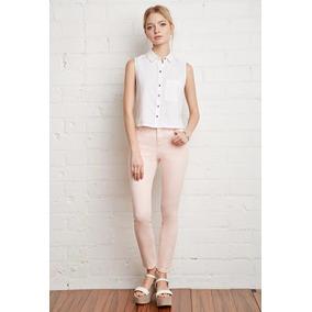 Pantalón Skinny De Dama Color Rosa Forever 21 Talla 28