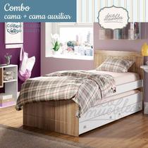 Kit Combo Oferta Cama 1 Plaza + Auxiliar Roble Laca Mueble