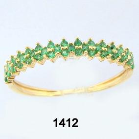 1412 Anel Meia Aliança Rpw De Ouro 18k 750 Com Esmeraldas