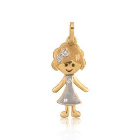 Pingente Em Ouro 18k Menina Fosco Com Diamante 3 Pontos por Rosana Joias e  Relógios 22607a8181