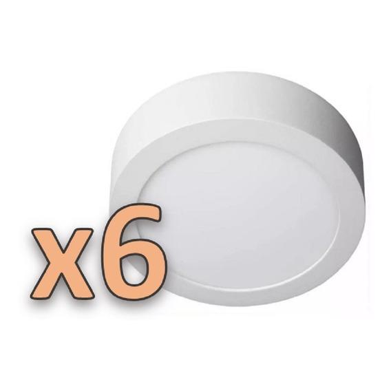 Pack X6 Plafon Aplicar Led 18w Redondo Calido Frio Envio