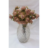 Arranjo Floral Flor Artificial Rosinhas Mescladas Vaso Vidro