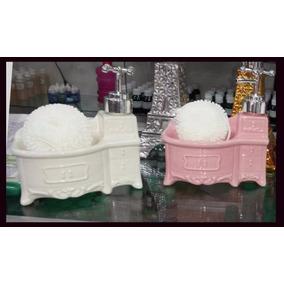 2 Saboneteiras Retrô Porcelana Porta Sabonete Líquido