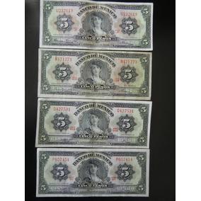 4.- Antiguos Billetes $ 5 Pesos 1961, 63, 69 Y 70