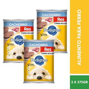 3 Latas Pedigree Alimento De Res Para Perro Cachorro 375g