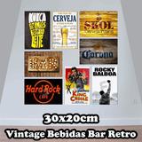 Kit Com 5 Placas Decorativas Vintage Bebida Bar Retro 20x30c