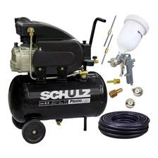 Compressor Ar 8,5pés Pro 25l Schulz + Kit Pintura + 10m Mang