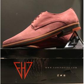Zapatos De Cuero Gamuzado Color Bordo En Punta Vestir Hombre