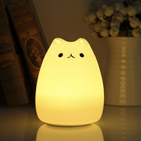 Gato Lampara Led Luz Calida De Noche Y De Colores Recargable