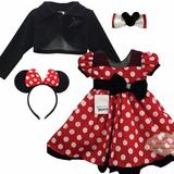 Vestido Infantil Festa Minnie Vermelha E Bolero Tiara Tictac