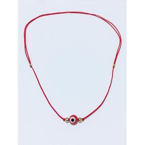 Collar Hilo Rojo Con Ojo Turco Rojo 8mm Baño Oro 18k